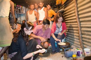 Learning to make circular round chapattis is an authentic transcultural experience.
