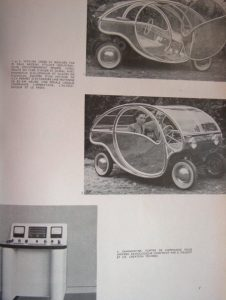 Esthétique industrielle, 3 (1951), Photos 1 and 2 show a car designed by M. Paul Arzens, industrial stylist. Photo 3 (bottom) shows Diagnodyne 4B control stand for radiology apparatus, Technès for the Massiot Company, Courbevoie. Winner of the Label Beauté France award in 1953.
