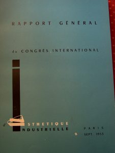 Report of the Congrès de l'Esthétique industrielle, Paris, 1953, cover page.
