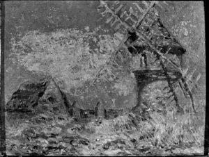 Paysage avec moulin - h/t - 0,14 x 0,18 - signé en bas à gauche - coll. part.
