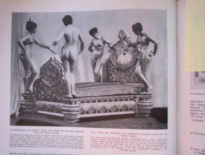 """Lit en argent pour un prince Hindou, photographie illustrant l'article """"Le musée de l'erreur"""", Louis Chéronnet, Jacques Viénot, Revue Art présent entre 1945 et 1947."""