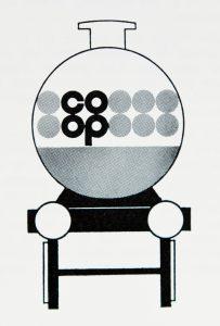 identité graphique pour COOP (Société générale des Coopératives de Consommation), CEI Raymond Loewy, Revue Design industrie 90-91, mai-juillet 1968