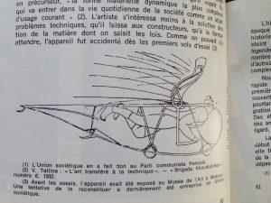 """Projet de Tatline, """"ornitophère"""" appareil qui n'a pas fonctionné mais illustre les recherches de l'artiste à partir de l'observation du monde organique"""