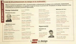 Jury de diplôme 2002 sous les présidences de Gérard Caron et Gérard Moquin Do You speak good design n° 14