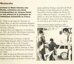Recherche en histoire du design sur Jacques Viénot J. Le Boeuf DY 18 - septembre 2003