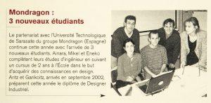 La partenariat avec l'université de Sarasate du groupe Mondragon (Espagne)- Jocelyne Le Boeuf avec les enseignants et étudiants de Mondragon DY 18 - septembre 2003