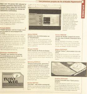 Les premiers projets de fin d'études Hypermedi@ DY 14 - 2002