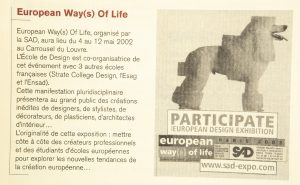 European Way(s) of Life Carroussel du Louvre, 14-12 mai 2002 Do you speak good design n° 10 (sept 2001)