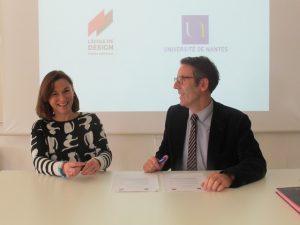 Partenariat Université de Nantes L'École de design Nantes Atlantique, officialisé au BO Le 2/02/2017 Olivier Laboux Président de l'université et Emmanuelle Gaudemer, présidente de L'École