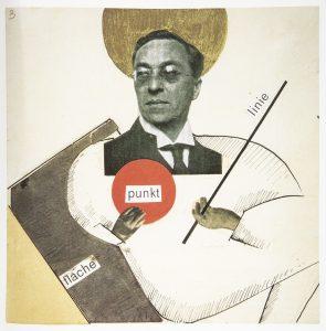 Collage d'Oskar Schlemmer, en référence au Point - LIgne - Plan de Vassily kandinsky. Bauhaus, Könemann, p. 257.