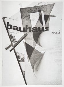 Herbert Bayer Page de titre pour la revue Bauhaus n° 1, 1928 Bauhaus, Könemann, p. 337 Atelier d'imprimerie, édition d'ouvrage, typographie, graphisme, étude de la publicitén sont autant de pratiques professionnelles et disciplines enseignées aux côtés des ateliers traditionnels.