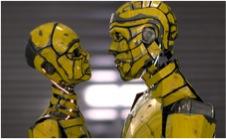 « Couple de robots » par l'artiste Samuel Conlogue, 2012.