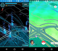 Comparaison d'interfaces d'Ingress et de Pokemon Go