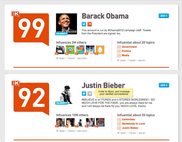 Les plus gros scores Klout du web : Barack Obama face à Justin Bieber
