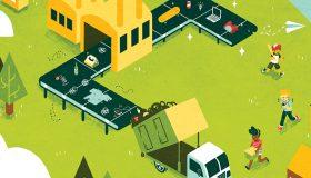Illustration de l'économie circulaire, chaine de recyclage