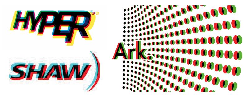 Différentes combinaisons de couleurs primaires sur des logos